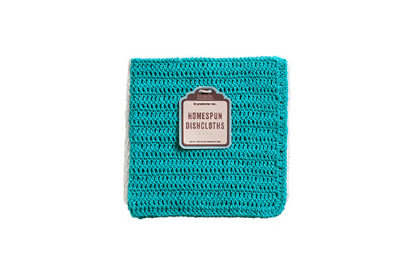 RetroKitchen crocheted cotton dish cloth in turquoise and white