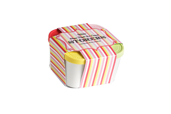 RetroKitchen mini ice-cream storage tubs packaged in colourful striped packaging