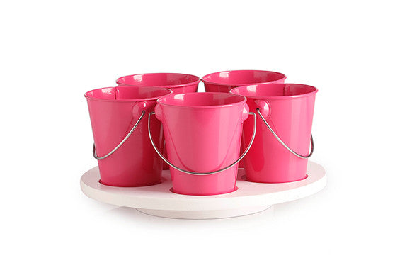 kids kitchen craft turntable with hot pink removable enamel buckets and white timber turntable