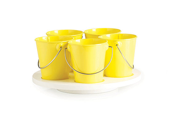 kids kitchen craft turntable with yellow removable enamel buckets and white timber lazy susan turntable