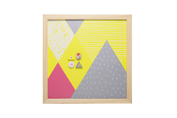 kids kitchen magnetic memo board in yellow, grey and hot pink with 4 matching magnets