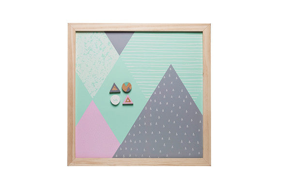 kids kitchen magnetic memo board in mint, grey and soft pink