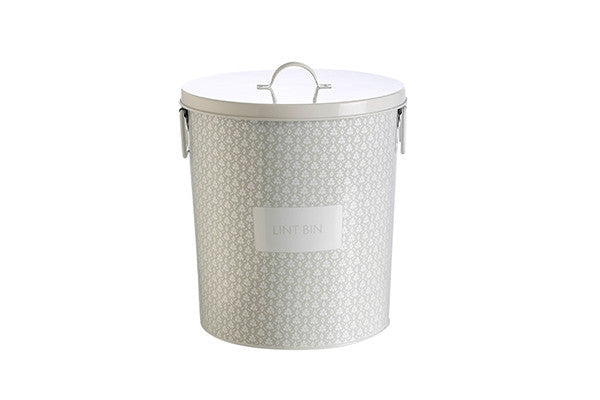 retro kitchen laundry bin for disposing of lint in the laundry, with contemporary spring floral grey pattern