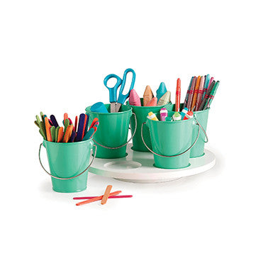 kids kitchen craft turntable with mint buckets, crayons, coloured pencils, chalk and craft supplies