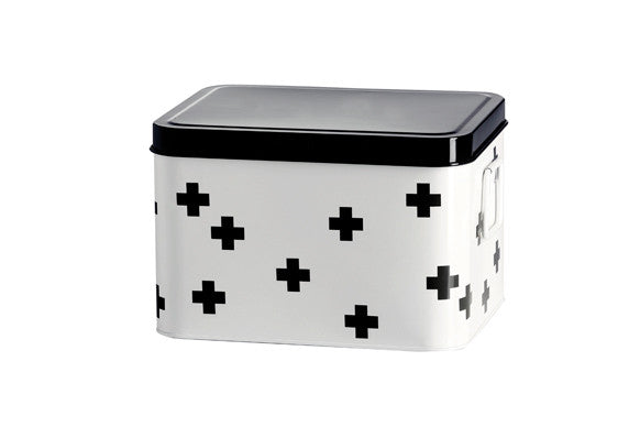 retrokitchen medicine box with multi cross pattern in black and white