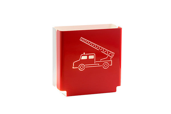 night light in red with fire truck design