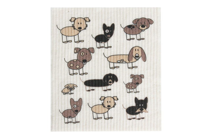 Retrokitchen swedish dish cloth with cute dogs design