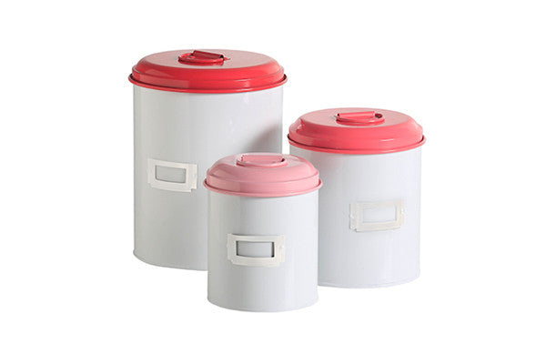 retro kitchen set of 3 canisters with raspberry and pink colourful lids