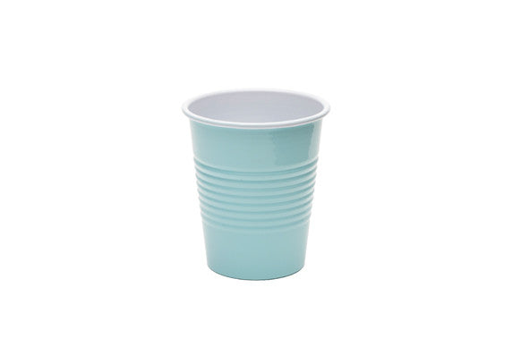 retro kitchen enamel cup in bleached aqua and white