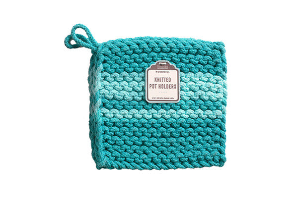 RetroKitchen knitted trivet in turquoise or teal colour