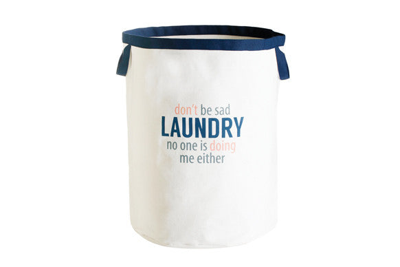 "retro kitchen laundry bag with navy trim and funny slogan ""don't be sad laundry, no one is doing me either"""