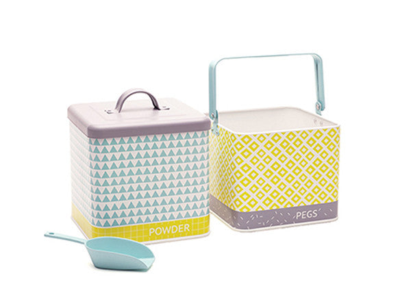 retro kitchen Landry powder and matching peg bucket in aqua, yellow and grey