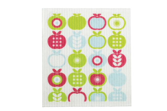 retrokitchen swedish dish cloth with apples design. 100% biodegradable