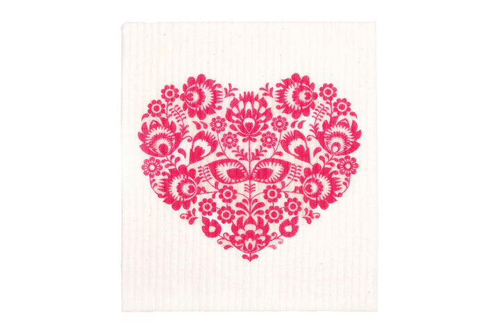 Retrokitchen swedish dish cloth with pink heart and white background. 100% biodegradable