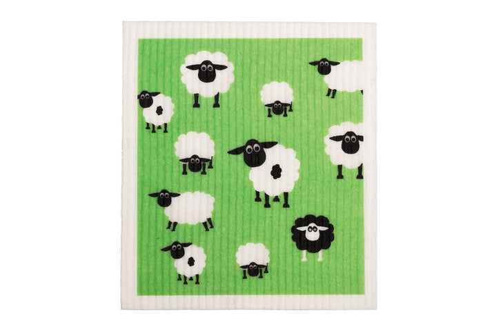 Retrokitchen swedish dish cloth with sheep design in green and black