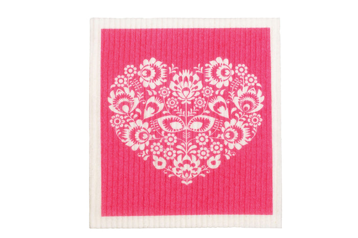 Retrokitchen swedish dish cloth with white heart and pink background design. 100% biodegradable