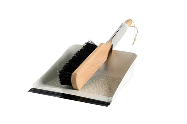 retro kitchen dustpan and brush set in contemporary light grey floral pattern
