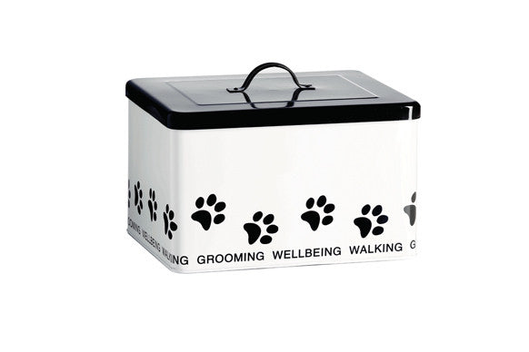 retrokitchen pet accessories storage box with paw design and black lid