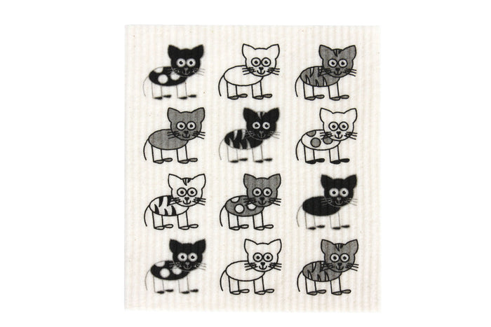 RetroKitchen swedish dish cloth with cute cats design