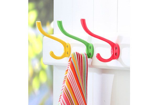 retrokitchen set of 3 yellow, green, pink enamel wall hooks