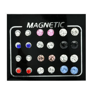 12 Pairs Non Pierced Rhinestone Magnetic Stud Earrings Earrings Jewellery