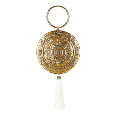 Celestial Tassle Bag Gold/White-From St Xavier