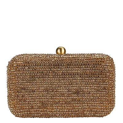 Diamante Box Clutch Gold-From St Xavier