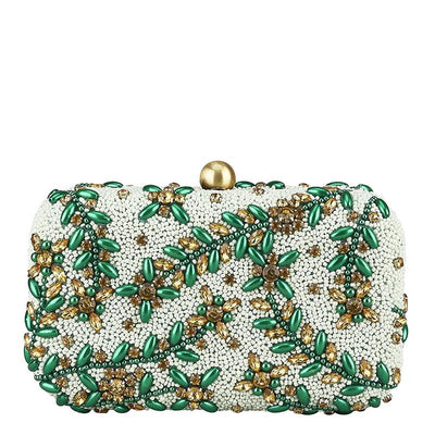 Diamante Vine Box Clutch Green-From St Xavier