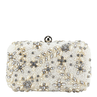 Diamante Vine Box Clutch Ivory-From St Xavier