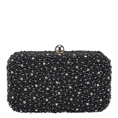 Mini Pearl Box Clutch Black-From St Xavier