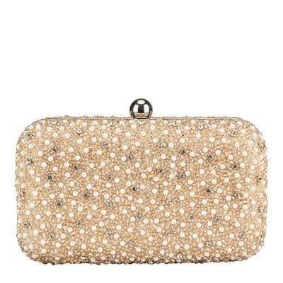 Mini Pearl Box Clutch Champagne-From St Xavier