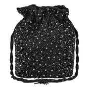 Mini Pearl Drawstring Bag Black-From St Xavier