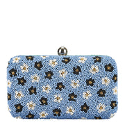 Split Floral Box Clutch Green/Blue
