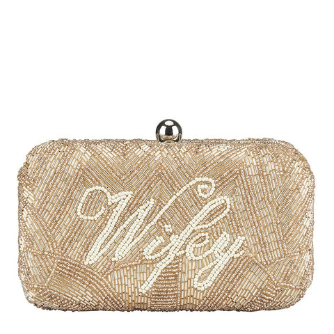 Wifey Medium Clutch Champagne-From St Xavier