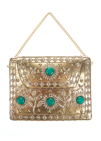 Elmie Clutch Gold/Green-From St Xavier