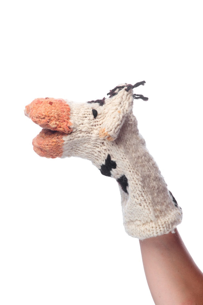 Wool Hand Puppet - Cow