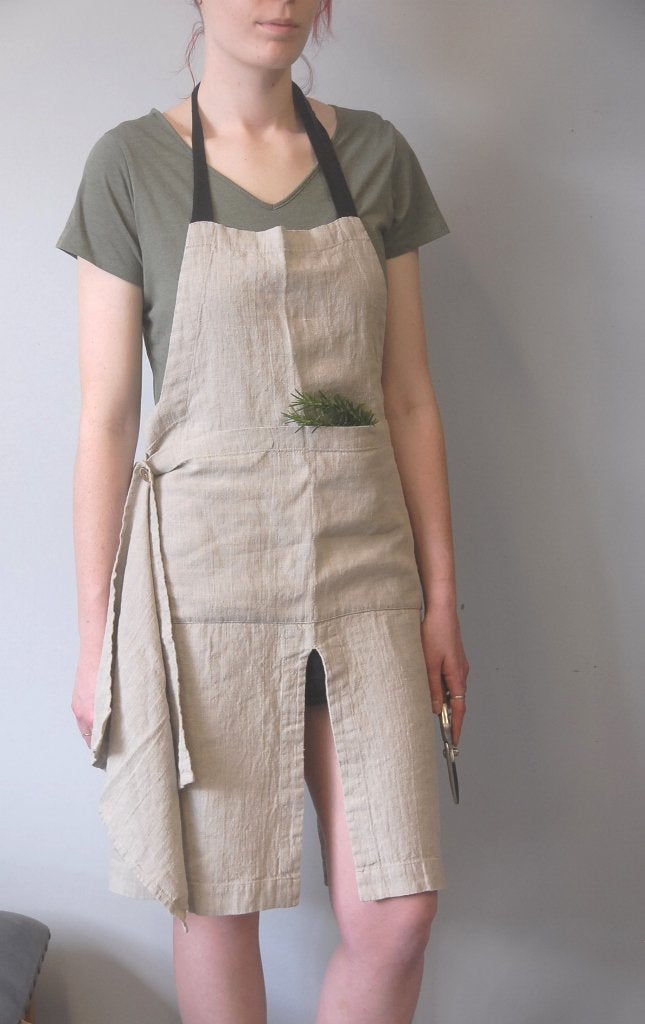 Linen Apron with Split & Teatowel