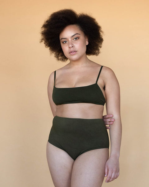 Lena High Waist Briefs - Olive
