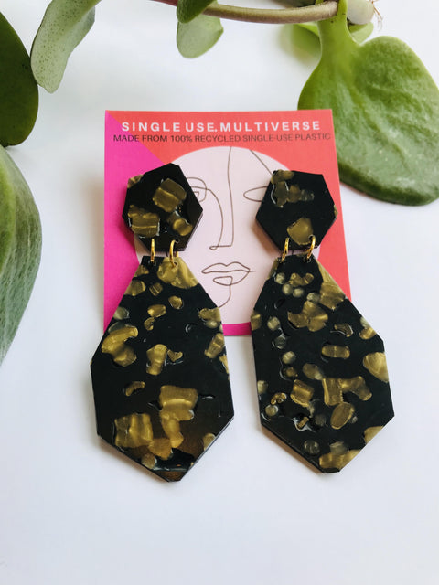 Gem Drop Dangle Earrings - Black Multi