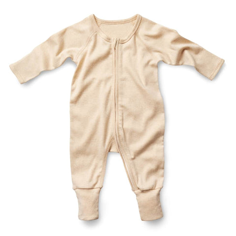 Long Sleeve Zip Romper - Wheat