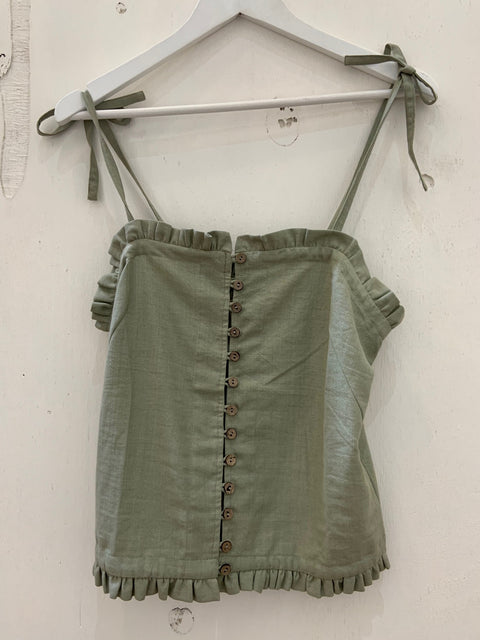 Light Heart Cami with Frill - Sage Green