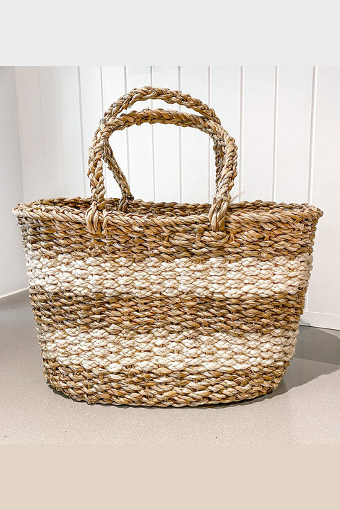 Braided Jute & Seagrass Basket - Thick White Stripe