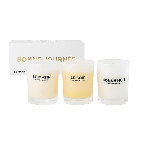 Bonne Journee Set Of Three Mini Candles
