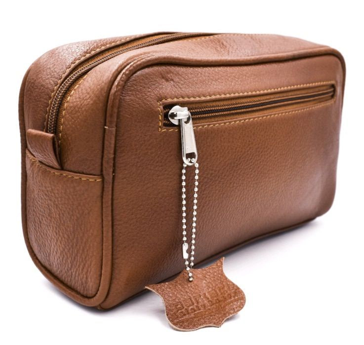 Leather Toiletry Bag - Saddle Brown