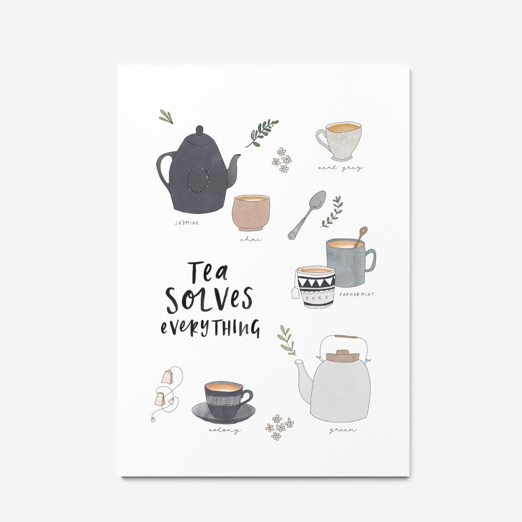 Tea Solves Everything Print - A4