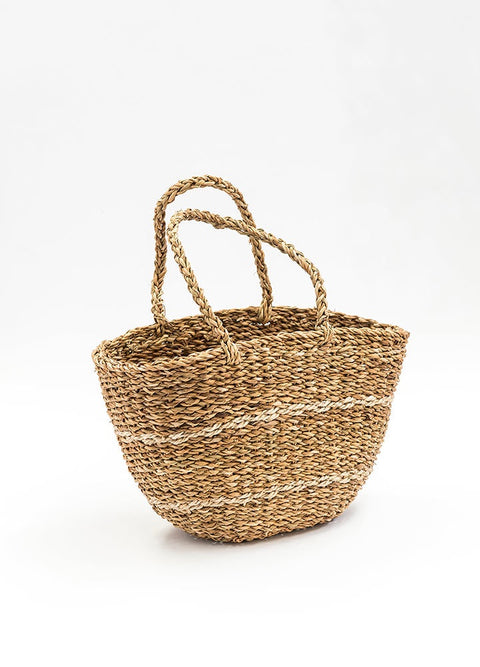 Oval Seagrass Basket - Thin Stripe
