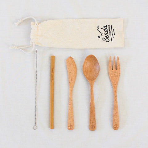 Wooden Cutlery Set With Bamboo Straw