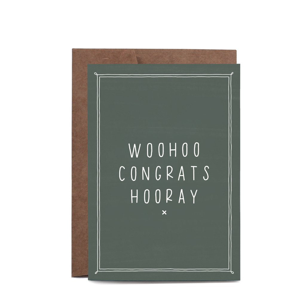 Woohoo Congrats Hooray Eucalyptus Greeting Card