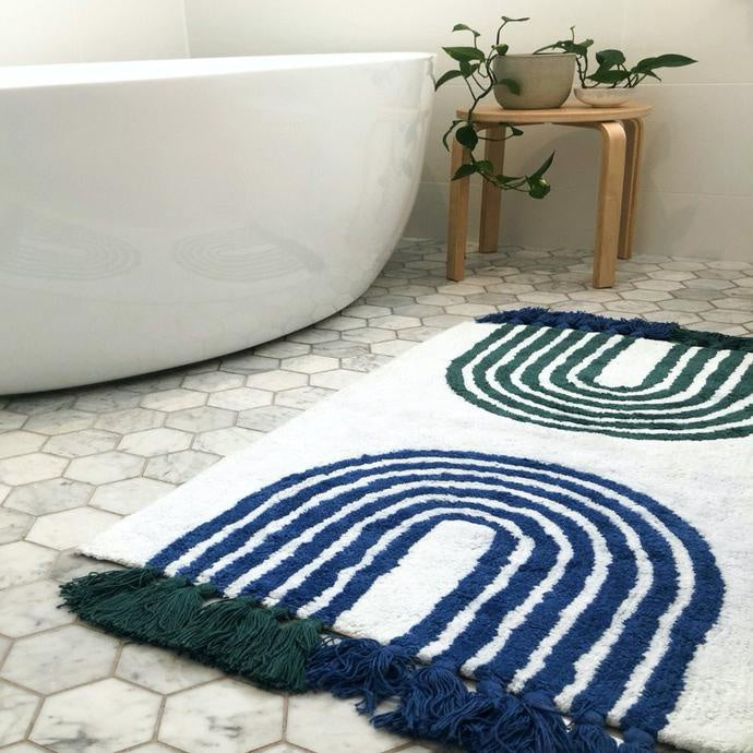 Bath Mat - Blue & Green Arches with Tassels