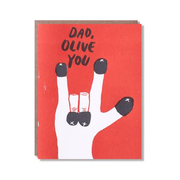Olive You Dad Greeting Card